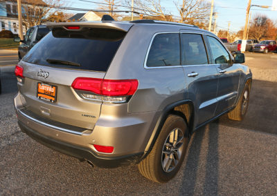 Passenger Side Rear Exterior of Silver 2017 Grand Cherokee Limited